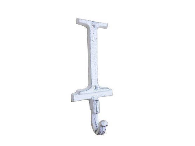 Whitewashed Cast Iron Letter I Alphabet Wall Hook 6