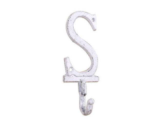 Whitewashed Cast Iron Letter S Alphabet Wall Hook 6