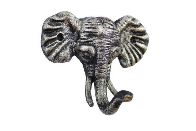 Rustic Silver Cast Iron Elephant Hook 5
