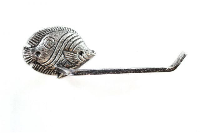Rustic Silver Cast Iron Butterfly Fish Toilet Paper Holder 11