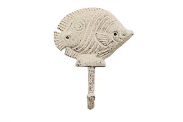 Whitewashed Cast Iron Butterfly Fish Wall Hook 6