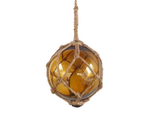 Amber Japanese Glass Ball Fishing Float With Brown Netting Decoration 4