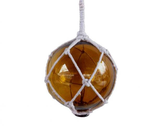 Amber Japanese Glass Ball Fishing Float With White Netting Decoration 4