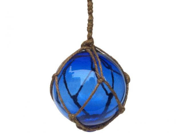 Blue Japanese Glass Ball Fishing Float With Brown Netting Decoration 4