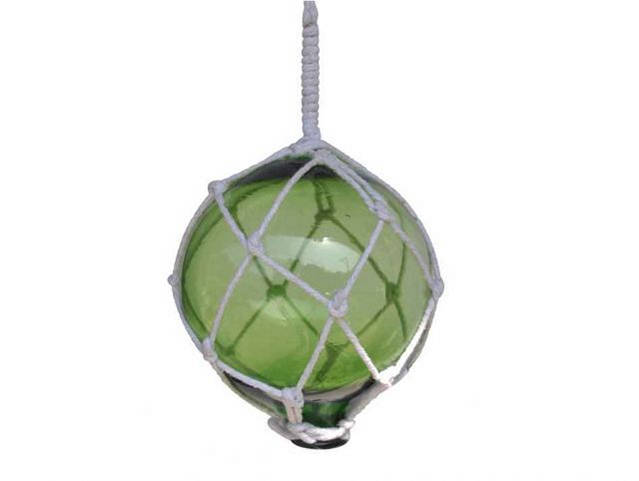 Green Japanese Glass Ball With White Netting Christmas Ornament 4