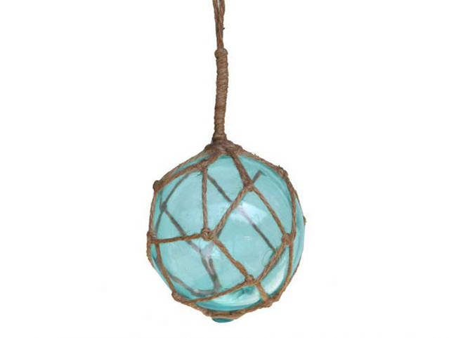 Light Blue Japanese Glass Ball Fishing Float With Brown Netting Decoration 4