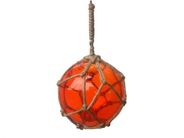Orange Japanese Glass Ball Fishing Float With Brown Netting Decoration 4
