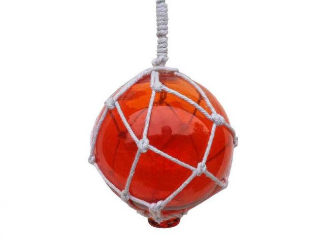 Orange Japanese Glass Ball Fishing Float With White Netting Decoration 4