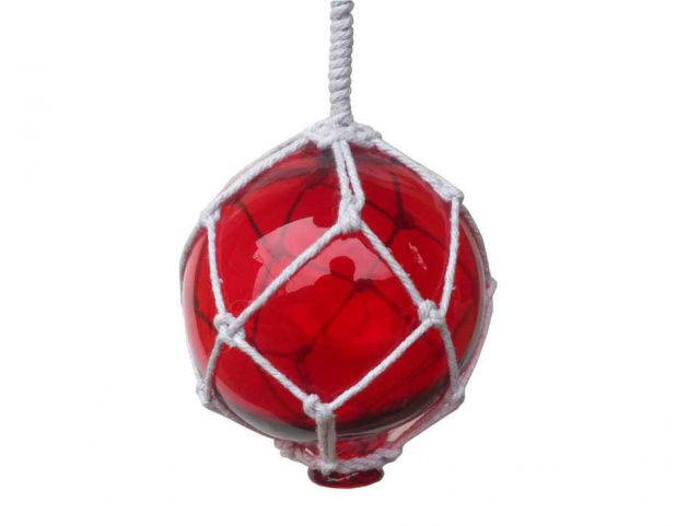 Red Japanese Glass Ball Fishing Float With White Netting Decoration 4