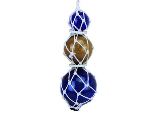 Blue - Amber - Blue Japanese Glass Ball Fishing Floats with White Netting Decoration 11