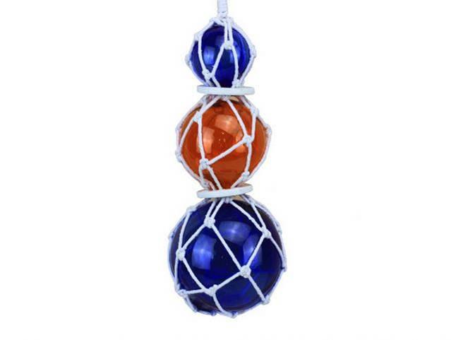 Blue - Orange - Blue Japanese Glass Ball Fishing Floats with White Netting Decoration 11