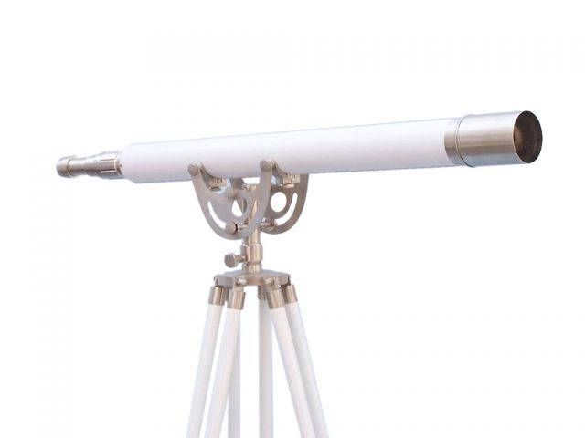 Floor Standing Brushed Nickel With White Leather Anchormaster Telescope 65