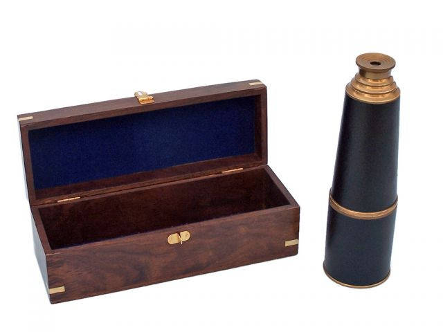 Deluxe Class Admiral Antique Brass Leather Spyglass Telescope 27 w- Rosewood Box