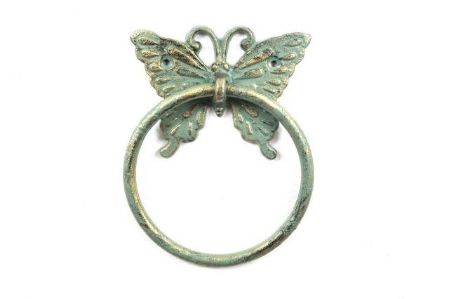 Antique Seaworn Bronze Cast Iron Butterfly Towel Holder 6