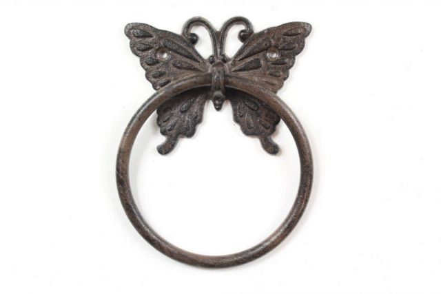 Cast Iron Decorative Butterfly Towel Holder 6
