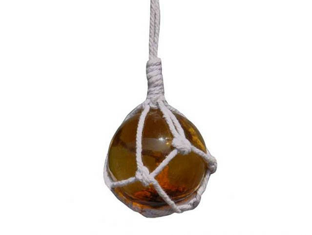 Amber Japanese Glass Ball Fishing Float With White Netting Decoration 2