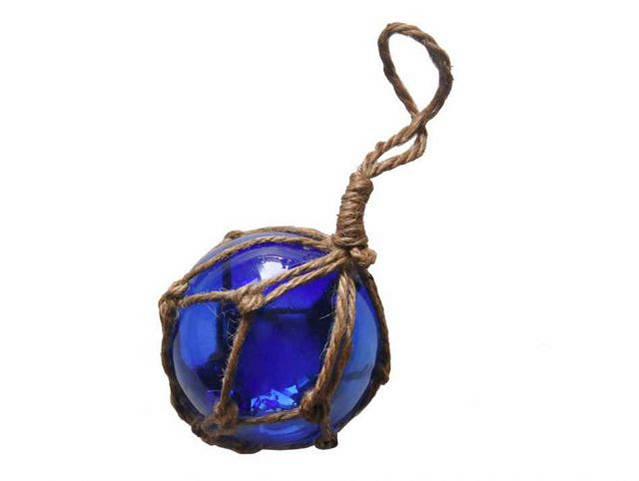 Blue Japanese Glass Ball Fishing Float With Brown Netting Decoration 3