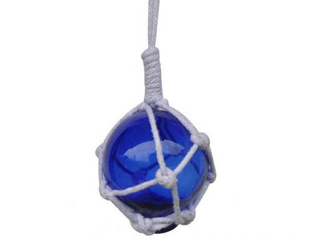 Blue Japanese Glass Ball With White Netting Christmas Ornament 2