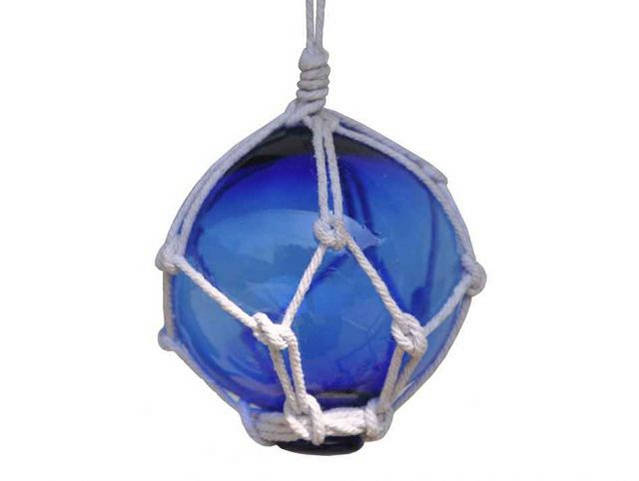 Blue Japanese Glass Ball Fishing Float With White Netting Decoration 3