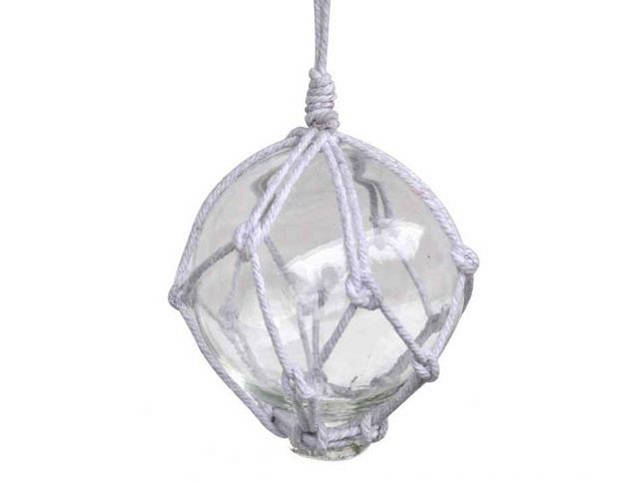 Clear Japanese Glass Ball With White Netting Christmas Ornament 3