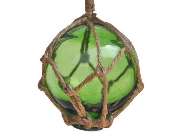 Green Japanese Glass Ball Fishing Float With Brown Netting Decoration 3