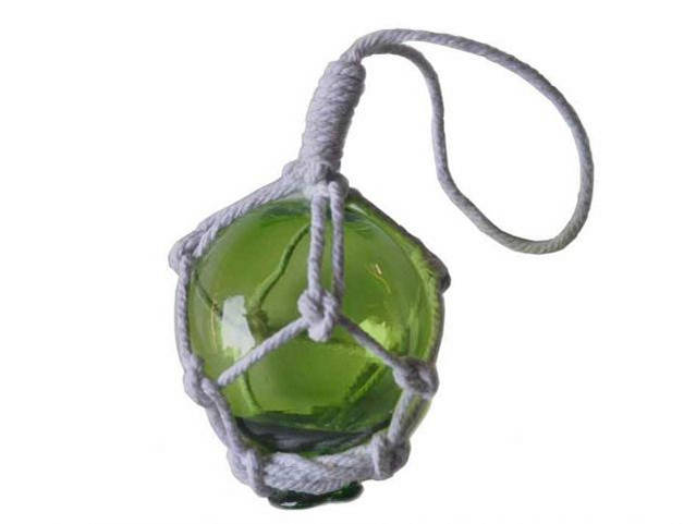 Green Japanese Glass Ball Fishing Float With White Netting Decoration 2