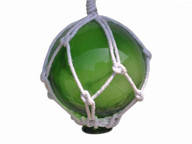 Green Japanese Glass Ball Fishing Float With White Netting Decoration 3