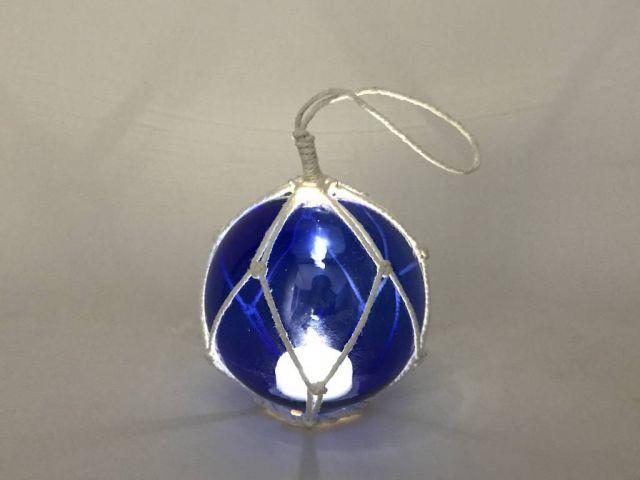 LED Lighted Dark Blue Japanese Glass Ball Fishing Float with White Netting Decoration 4