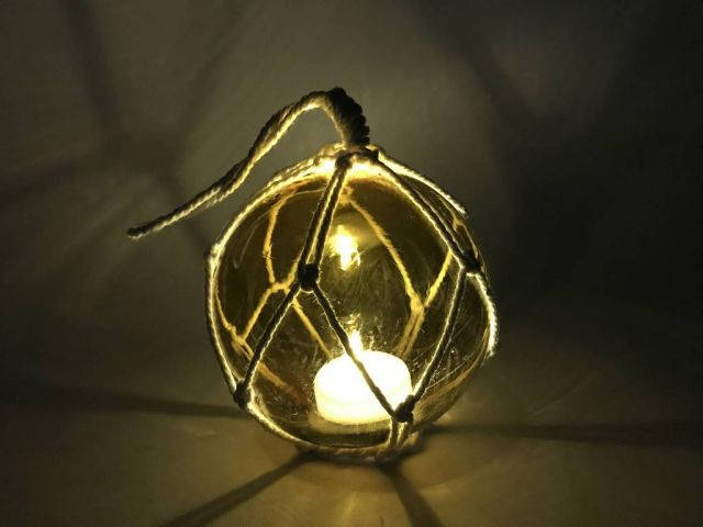 LED Lighted Amber Japanese Glass Ball Fishing Float with White Netting Decoration 4