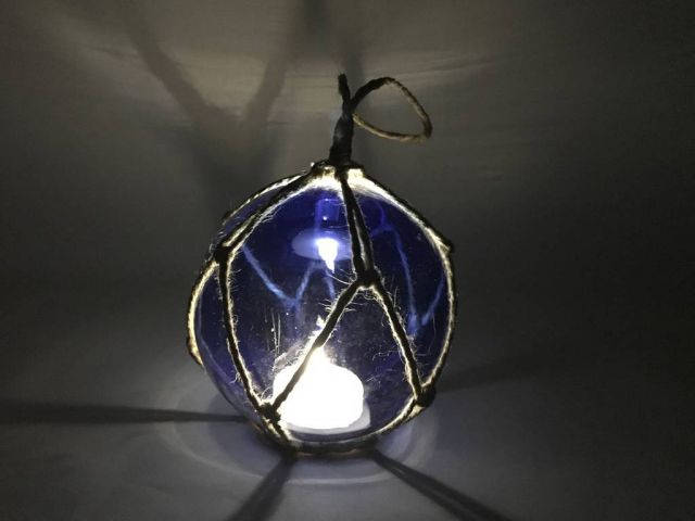 LED Lighted Dark Blue Japanese Glass Ball Fishing Float with Brown Netting Decoration 3