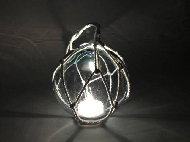 LED Lighted Light Blue Japanese Glass Ball Fishing Float with White Netting Decoration 4