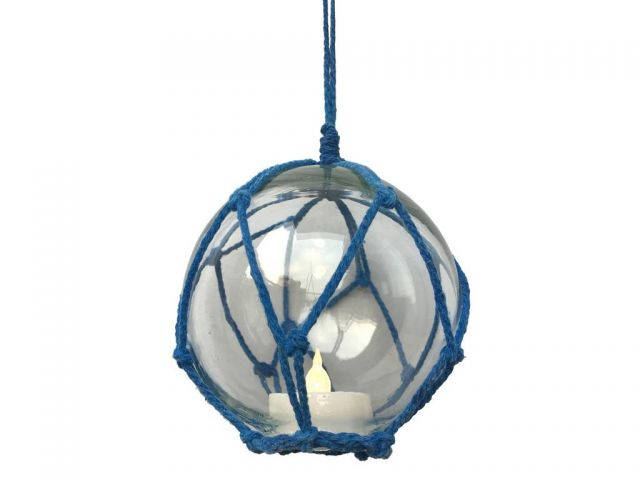 LED Lighted Clear Japanese Glass Ball Fishing Float with Blue Netting Decoration 6