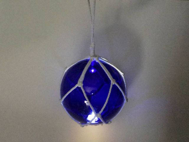 LED Lighted Dark Blue Japanese Glass Ball Fishing Float with White Netting Decoration 10