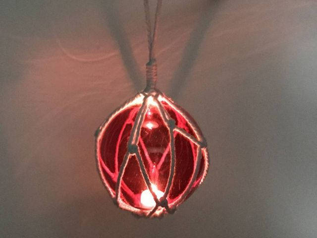 LED Lighted Red Japanese Glass Ball Fishing Float with White Netting Decoration 4