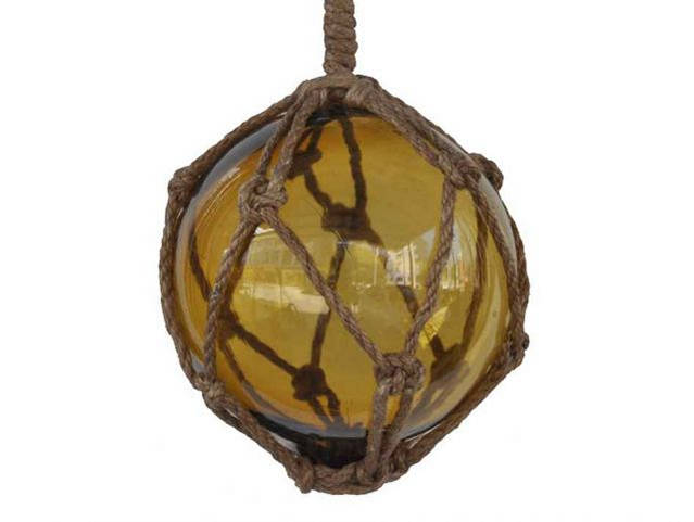 Amber Japanese Glass Ball Fishing Float With Brown Netting Decoration 6
