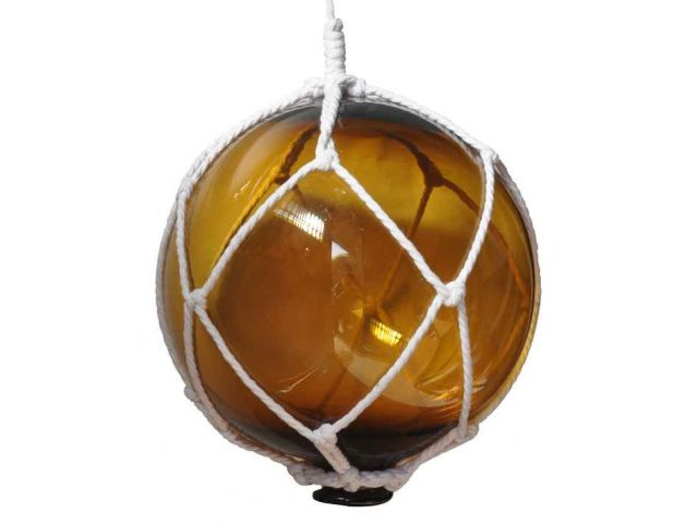 Amber Japanese Glass Ball Fishing Float With White Netting Decoration 10