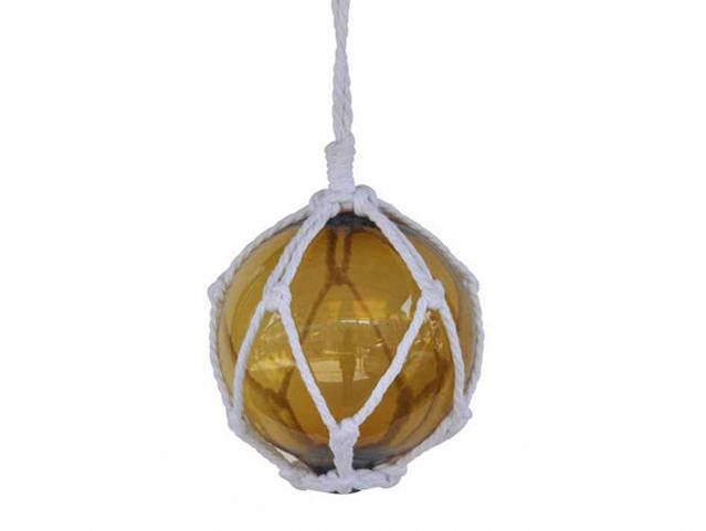 Amber Japanese Glass Ball Fishing Float With White Netting Decoration 6