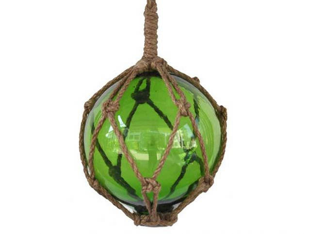 Green Japanese Glass Ball Fishing Float With Brown Netting Decoration 6