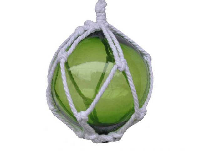 Green Japanese Glass Ball Fishing Float With White Netting Decoration 6