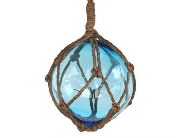 Light Blue Japanese Glass Ball Fishing Float With Brown Netting Decoration 6
