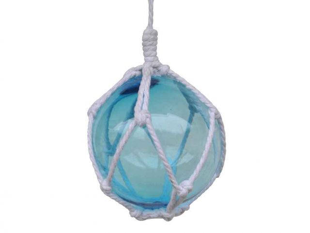 Light Blue Japanese Glass Ball Fishing Float With White Netting Decoration 6