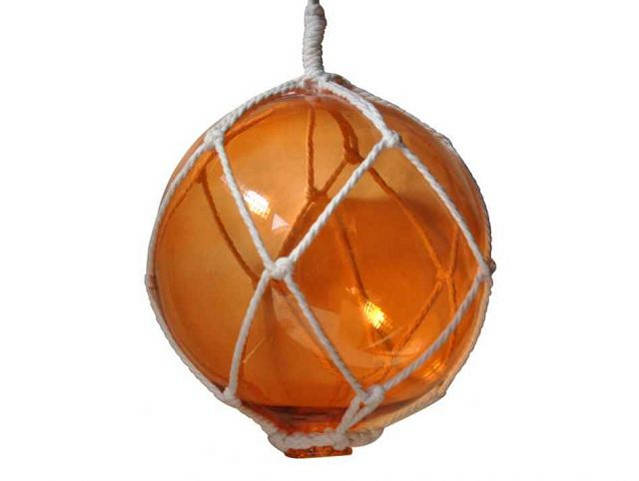 Orange Japanese Glass Ball Fishing Float With White Netting Decoration 10