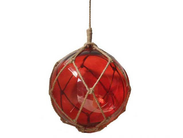 Red Japanese Glass Ball Fishing Float With Brown Netting Decoration 10