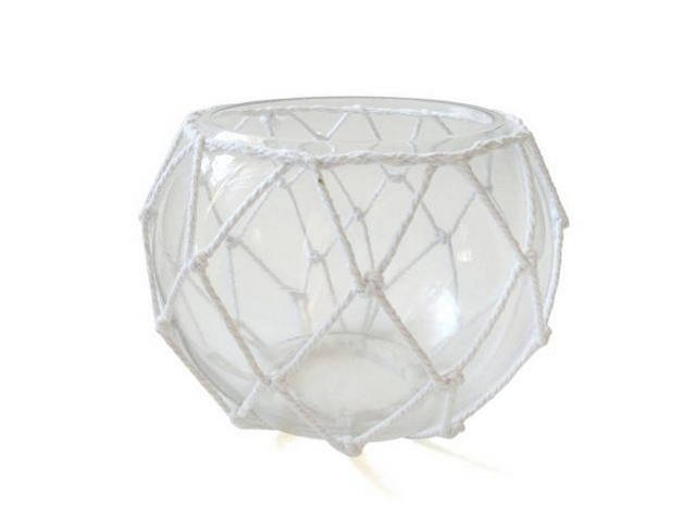 Clear Japanese Glass Fishing Float Bowl with Decorative White Fish Netting 8