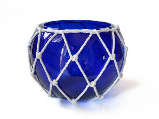 Dark Blue Japanese Glass Fishing Float Bowl with Decorative White Fish Netting 8