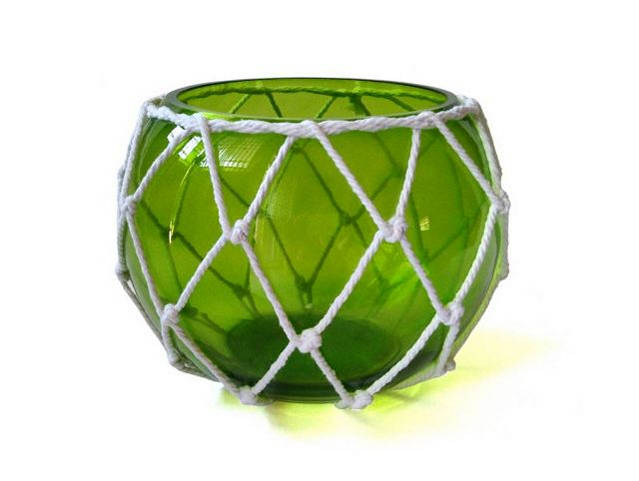 Green Japanese Glass Fishing Float Bowl with Decorative White Fish Netting 8