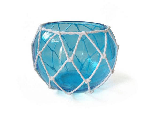 Light Blue Japanese Glass Fishing Float Bowl with Decorative White Fish Netting 8