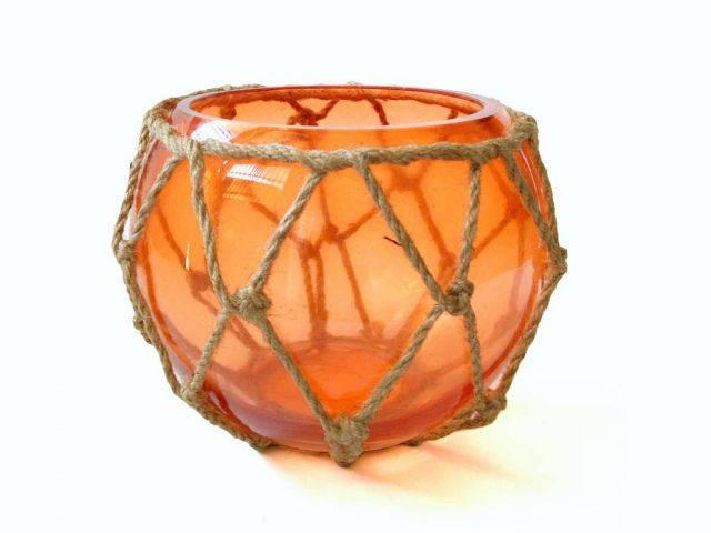 Orange Japanese Glass Fishing Float Bowl with Decorative Brown Fish Netting 6