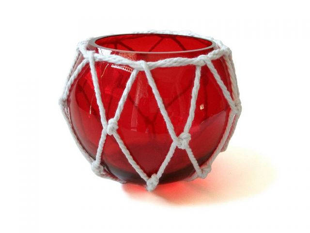 Red Japanese Glass Fishing Float Bowl with Decorative White Fish Netting 6