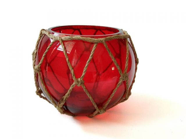 Red Japanese Glass Fishing Float Bowl with Decorative Brown Fish Netting 6